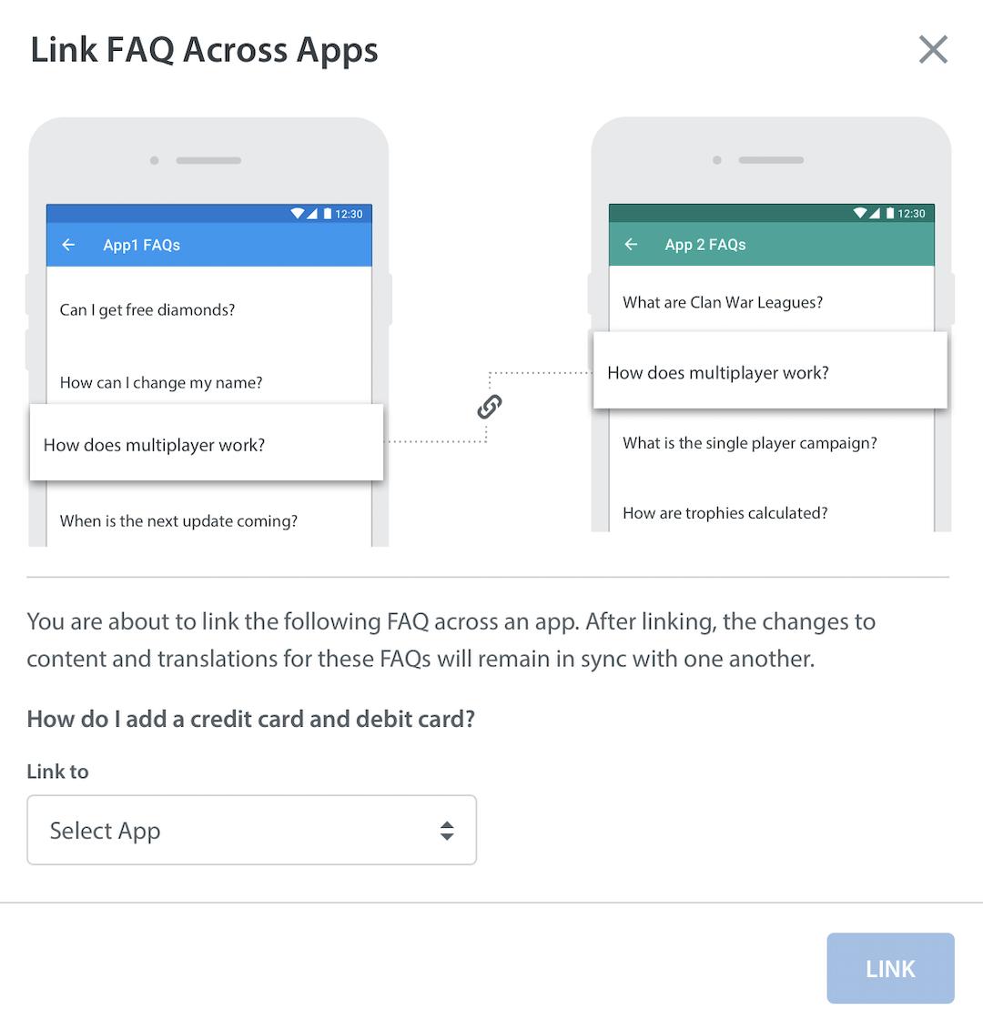How do I copy or link an FAQ across multiple apps