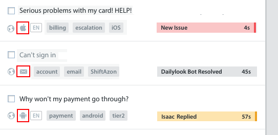 How do email, web, and in-app Issues look in Helpshift
